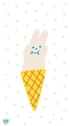 Thankful and grateful rabbit ice-cream. Love Illustration, Character Illustration, Graphic Design Illustration, Ice Cream Illustration, Conversational Prints, Cute Cartoon Wallpapers, Wallpaper Iphone Cute, Cute Drawings, Love Art