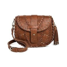 Under One Sky Women's Faux Leather Studded Crossbody Handbag with Snap... (1.910 RUB) ❤ liked on Polyvore featuring bags, handbags, shoulder bags, red, purse shoulder bag, handbag purse, brown crossbody, red purse and brown purse