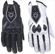 Ladies Premium Leather Motorcycle Driving Gloves with Star Design. Available in Black or White Leather.