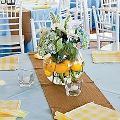 Wedding Table Centerpieces | Cheery Blue and Yellow Centerpiece | SouthernLiving.com
