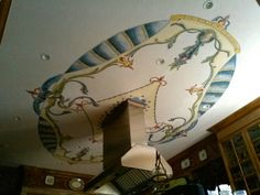 Majolica style ceiling designed and painted by Donzine Ceiling Painting, Cool Designs, Mirror, Home Decor, Style, Swag, Paint Ceiling, Decoration Home, Room Decor