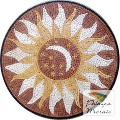 Marble Mosaic Sun Medallion Tile