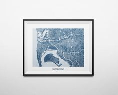 San Diego California Abstract Street Map Print by louisianaprints