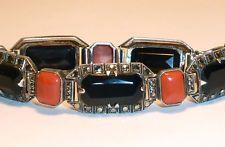 Art Deco Theodor Fahrner Coral Onyx Sterling Bracelet Signed TF