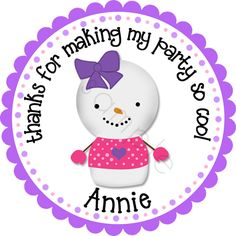 Winder ONEderland Snowgirl design in purple/pink.  Personalized stickers by partyINK.