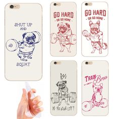 NEW Shut Up And Squat Dog Fashion Ultra Thin Soft TPU Gel Transparent Case Cover For Apple iPhone 4 4S 5 5S SE 5C 6 6S 7 Plus