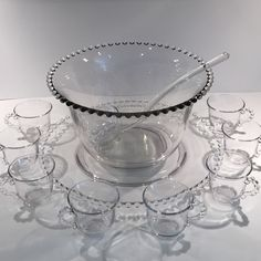 Imperial Candlewick 11 Pc Punch Bowl Set