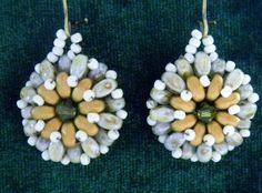 Doublesided pinwheel earrings in grey//green tan by SuziVeeJewelry, $20.00