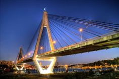 The ANZAC Bridge or Anzac Bridge (both forms are used by the Roads and Traffic Authority), replacing the earlier Glebe Island Bridge, is a large cable-stayed bridge spanning Johnstons Bay between Pyrmont and Glebe Island (part of the suburb of Rozelle) in proximity to the central business district of Sydney, Australia. #anzac #bridge #pyrmont #glebe #island #sydney #australia #infrastructure #travel #roads