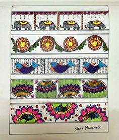 Mandala Art Lesson, Mandala Drawing, Indian Art Paintings, Simple Paintings, Basic Drawing For Kids, Buddha Canvas, Madhubani Art, Indian Folk Art, Madhubani Painting