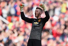 David De Gea of Manchester United celebrates at the end of the Barclays Premier League match between Manchester United and Everton at Old Trafford on October 2014 in Manchester, England. Premier League Teams, Barclay Premier League, Official Manchester United Website, Man Utd News, Man Of The Match, European American, Manchester United Football, English Premier League, Old Trafford