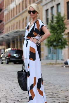 Dress: DVF. Shoes: c/o Tory Burch. Sunglasses: Karen Walker. Jewelry: borrowed David Yurman. Bag: Chanel.