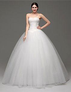Vestido de Boda - Blanco Corte Evasé Hasta el Suelo - Sweetheart Tul