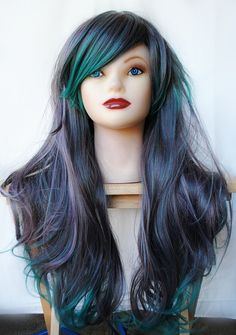 Lovely multicoloured wig for cos play by MissVoiletLace on Etsy
