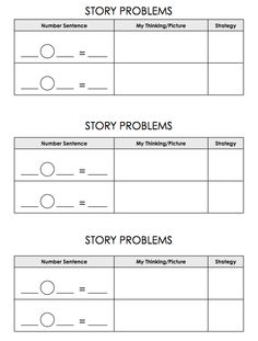 Here's a recording page for use in solving story problems.