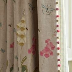 Susie Watson Designs offers a timeless collection of handmade fabrics, wallpaper, furniture, pottery, soft furnishings & gifts in her signature colour palette. Lounge Curtains, Curtains With Blinds, Pom Pom Curtains, Roman Curtains, Fabric Blinds, Window Blinds, Bedroom Curtains, Linen Curtains, Roman Blinds