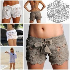 6 free patterns for Crochet Beach Lace Shorts /skirt  #diy #crafts #crochet