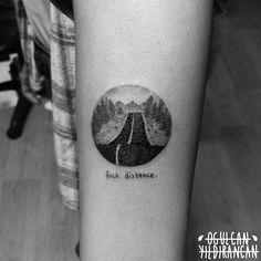 by Ogulcan YILDIRANCAN instagram: @ogulcantattooer  minimal circle round cute dotwork road forest tattoo