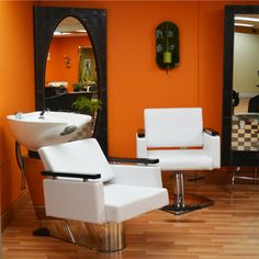New trend in Beauty Salon decoration!!! Matching furniture, black and white. South Beach, Florida Style...