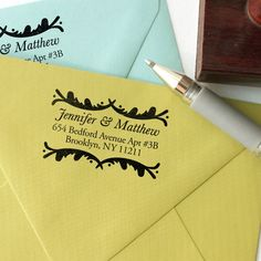 A floral inspired set of brackets frames your name and address in this unique address stamp. Leaves a bold unique impression on any color envelope. All of The Chatty Press address stamps can be custom