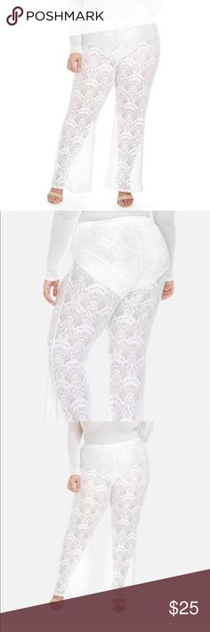NWT PLUS SIZE WHITE LACE PALAZZO PANT W/ PANTY 2X Panty liner attached long length Pants