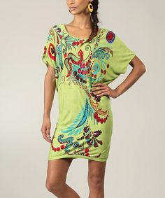 Another great find on #zulily! Green & Red Floral Dolman Dress #zulilyfinds
