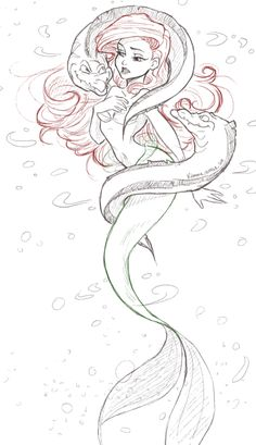 Awesome Little Mermaid art Disney And More, Disney Love, Disney Magic, Disney Stuff, Disney Sketches, Disney Drawings, Princess Draw, Disney Princess Tattoo, Disney And Dreamworks