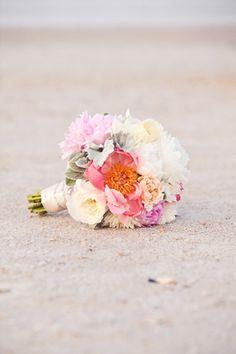wedding florals bride bouquet Peony, dahlias, garden roses, and dusty miller bouquet