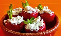 Small miracles: cherry chilli peppers stuffed with labneh and pine nuts.