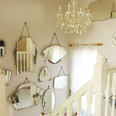 Create a unique and quirky alternative to traditional wall art by grouping together vintage mirrors of all different shapes, sizes and styles. LOOKING FOR Bassett Mirror Grand Large Antique Wall Mirror Vintage Mirrors, Vintage Decor, Quirky Wall Mirrors, 1930s Mirrors, Hanging Mirrors, 1930s Decor, Retro Mirror, Old Mirrors, Vintage Display