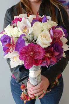 purple lavender wedding flower bouquet