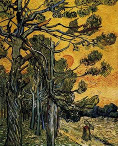 Vincent van Gogh (Dutch, Post-Impressionism, 1853-1890): Pine Trees against a Red Sky with Setting Sun, 1889. Created in Saint-Rémy, France. Oil on canvas, 92 x 73 cm. Kröller-Müller, Otterlo, Netherlands.