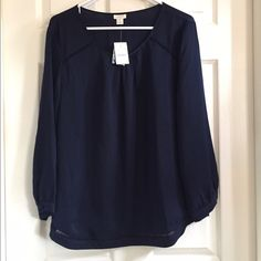 NWT J Crew Blouse Navy Cut Out size XL Never worn J. Crew Tops Blouses