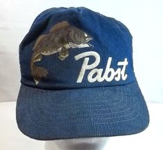 Vintage Pabst Beer Cap Hat Fish Corduroy Mesh Snapback Trucker Blue Made in  USA 393029f65