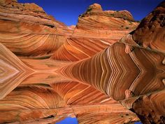 """The Wave"", a 190 million year old Jurassic-age Navajo sandstone rock formation, Coyote Buttes North, Paria Canyon-Vermillion Cliffs Wilderness Area, Utah-Arizona border, USA  Geology Wonders"