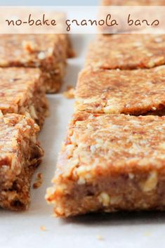 These easy no-bake granola bars are one of my favorite healthy snacks to prep on Sundays and then have on hand throughout the week. I like to keep them in the fridge, wrapped in foil, and grab one if I'm in need of a quick snack on the go. Click the link for this no bake homemade healthy recipe for delicious chewy granola bars. I make them with peanut butter and honey, and just the perfect amount of cinnamon. #healthysnacks #granolabars #homemade No Bake Granola Bars, Chewy Granola Bars, Healthy Snaks, How To Make Granola, Vegetarian Snacks, Quick Snacks, Food Processor Recipes, Peanut Butter, Cinnamon