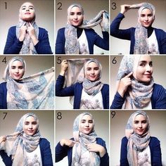 How to wear hijab tutorials headscarves 17 Ideas Square Hijab Tutorial, Hijab Style Tutorial, Turban Tutorial, Islamic Fashion, Muslim Fashion, Hijab Outfit, Hijab Mode Inspiration, How To Wear Hijab, Hijab Stile