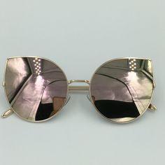 óculos de sol espelhado feminino gato gatinho metal redondo