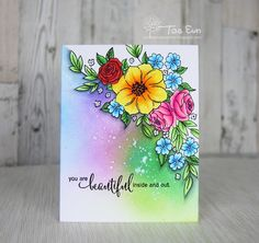 Made a one layer card, inspired by Kelly Latevola ! Thank you for the fabulous video tutorials! Stamp by Penny Black Cards, Penny Black Stamps, Altenew Cards, Card Making Inspiration, Watercolor Cards, Card Sketches, Copics, Flower Cards, Creative Cards