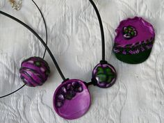 Unique necklace, boule pendant and brooch in pearly Magenta and metallic green polymer clay with decorative cane work 1550