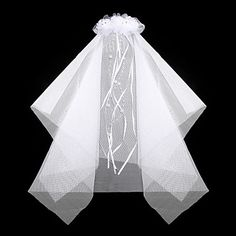 Gorgeous Satin/ Lace With Rhinestone/ Imitation Pearl Wedding Flower Girl Veil/ Headpiece Combs – USD $ 13.49