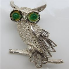 A Vintage Alice Caviness Sterling Owl Brooch.