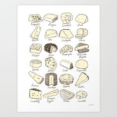 Cheeses is Love Art Print by Lucy Knisley - X-Small Wall Prints, Poster Prints, Canvas Prints, Posters, Chalkboard Drawings, Love Canvas, Popular Art, Food Drawing, Kitchen Art