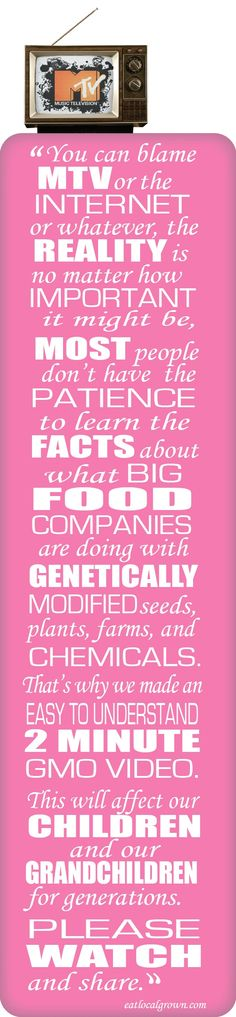 Please click to watch the 2 Minute GMO video. Thank you. http://www.youtube.com/watch?v=0qMh9jJk4fQ