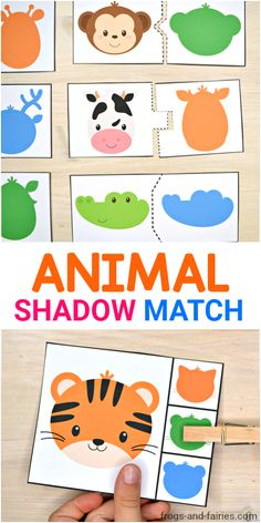This is a fun animal shadow match printable activity pack for preschoolers to practice visual discrimination skills! It includes a lot of different puzzles and clip cards with adorable animals and their shadows! Animal Activities For Kids, Infant Activities, Animals For Kids, Preschool Activities, Zoo Animals, Kids Zoo, Preschool Learning, Toddler Preschool, Play Doh