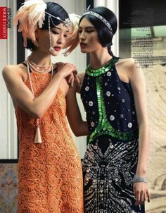 The Terrier and Lobster: Roaring 20s: Du Juan and Sui He as Flappers by Giorgio Batu for Vogue China June 2013