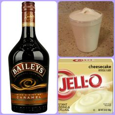 Baileys Caramel Cheesecake  1 small Pkg. cheesecake instant pudding ¾ Cup Milk 3/4 Cup Caramel Baileys US 8oz tub Cool Whip  Directions 1. Whisk together the milk, liquor, and instant pudding mix in a bowl until combined. 2. Add cool whip a little at a time with whisk. 3.Spoon the pudding mixture into shot glasses, disposable shot cups or 1 or 2 ounce cups with lids. Place in freezer for at least 2 hours