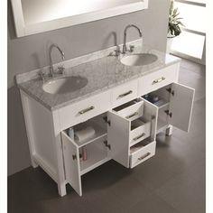"Virtu USA 60"" Caroline Double Sink Bathroom Vanity - White   Free Shipping"