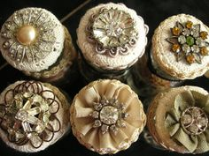 Neat idea... decorating jar lids with costume jewelry and lace... doilies...