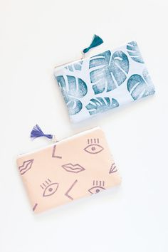 NEW Confetti Face zipper pouch clutch purple by confettiriotshop